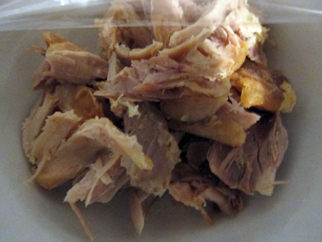a bowl of chicken meat