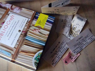 Film fest (and weekend) flotsam: ticket stubs, including symphony; bagel ticket; book I bought at author event at the library