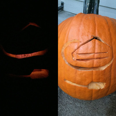 2015's rather sub-standard jack-o-lantern - tried to scoop & carve it in 45 mins, to not be late for movie